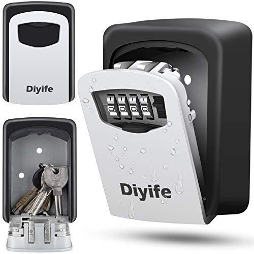 Diyife Caja Fuerte para Llaves [Versión a Prueba de Agua] [Montado en la Pared] Caja de Cerradura con Tapa Deslizante, Candado de Seguridad combinación de 4 dígitos para el Hogar, Garaje,Airbnb.
