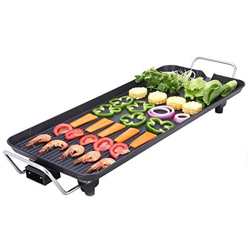 Indoor Barbecue Elektrische Teppanyaki Tischgrill Einfache Reinigung Kochfläche und Einstellbare Temperatur BBQ Kochplatte Grill 41x23 cm