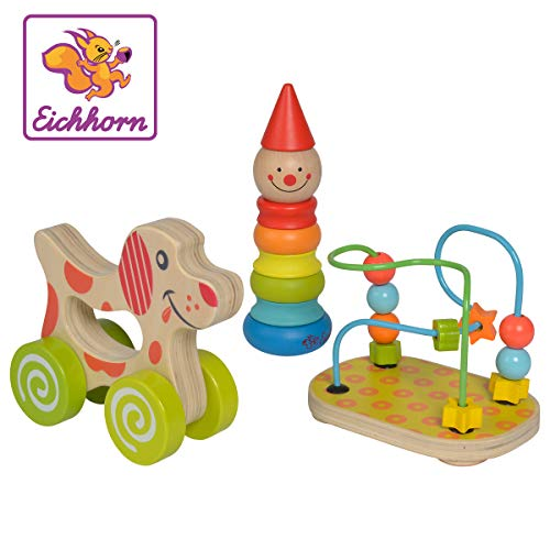 Eichhorn 100003750 Lernspielset bestehend aus Steckfigur Clown, Motorikschleife und Schiebehund, 3 teilig