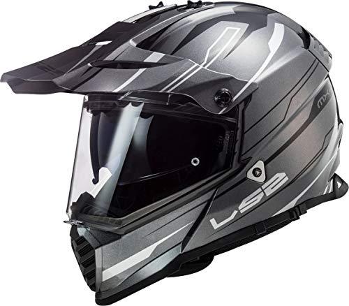 LS2 Casco Cross Moto Pioneer Evo Knight Titanio Blanco