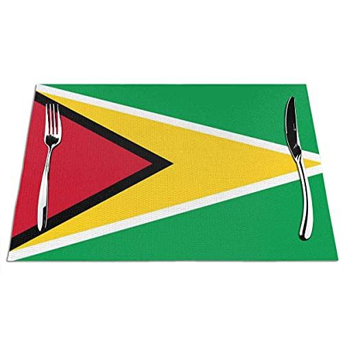 Platzsets Abwaschbar 6er Set , rutschfest Abwaschbar Vinyl Hitzewiderstandsfähig Flagge von Guyana Tischsets für Dinnerpartys, Küche, Hause, Restaurant, Hotel 45 x 30 cm
