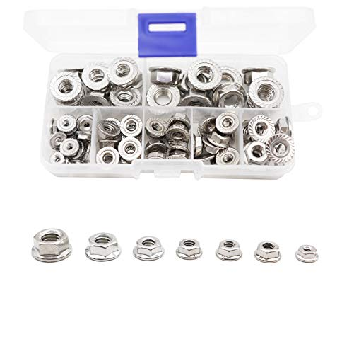 binifiMux 70Pcs Hexagon Flange Nuts Assortment Kit(7 Sizes), 304 Stainless Steel #6#8#10, 3/16