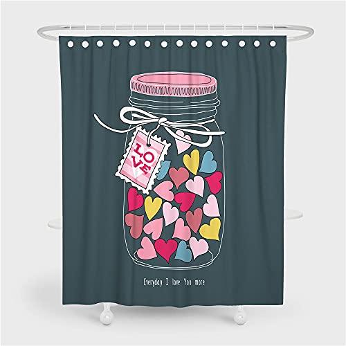 ZDPLL 3D Bedruckter Duschvorhang Süßigkeiten in Herzform Badezimmer strapazierfähig, wasserdicht, Polyester-Stoff Digital Bedruckt inkl 12 Haken 180x220cm
