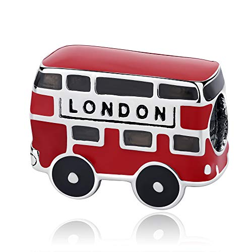 Charm in argento Sterling 925, adatto a braccialetti e collane Pandora London of Red Bus Beads in oro rosa per donne e ragazze, regalo di compleanno con scatola portagioie