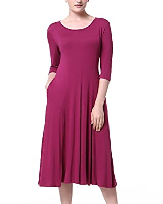 Mixfeer Women's Scoop Neck 3/4 Sleeve Pleated A-line Swing Flare Casual Midi Dress