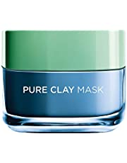L'Oreal Paris Pure Clay Blue Face Mask with Marine Algae, Clears blackheads and Shrinks pores, 50 ML