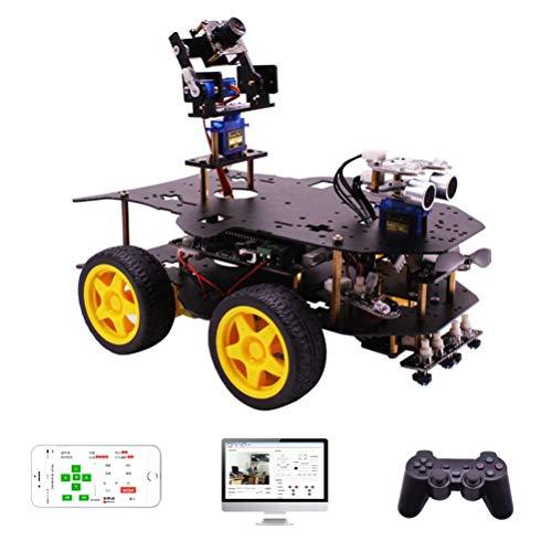 ANAN Stem 4WD Robot Coche Kit, Raspberry Pi 4-Wheeled Smart Car Kit, con Módulo de Seguimiento de Línea, Sensor Ultrasónico, Reconocimiento de Objetos, Reflector de 7 Colores
