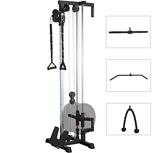 ER KANG Wall Mount Cable Station with 18 Positions Dual Pulley System for Home Gym Fitness Equipment