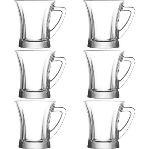 LAV 6 teiliges Gläser- Set Getränkegläser Teegläser Set mit Henkel Cay Bardagi Füllmenge 220 ml Ideal geeignet für Heiß- oder Kaltgetränke