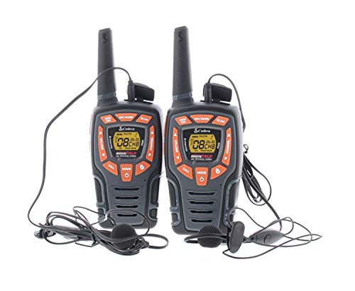 Cobra AM846 - Walkie Talkie Resistente a la Intemperie con micrófono GA-EBM2 y baterías Recargables (2 Unidades), Color Negro