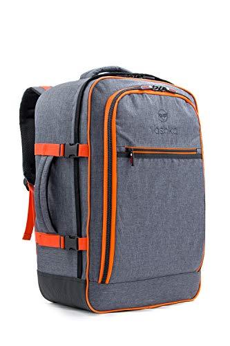 Vashka Handgepäck Rucksack 44 Liter - Leichtgewicht Reiserucksack für das Flugzeug Bordgepäck 55x40x20 cm - Grau