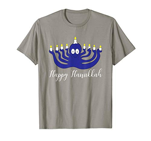 Happy Hanukkah Octopus Menorah Funny Holiday T-Shirt Gift