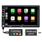 Binize 7 inch Car Stereo Radio with Apple Carplay Android Auto Double Din Touchscreen Bluetooth Head Unit/MP5 Player/FM/AM,Support Reversing Image Input/Steering Wheel Control/USB/Remote