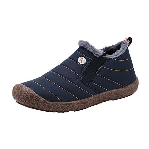 Yowablo Damen Winterstiefel Wasserdicht Warm gefütterte Schneestiefel Winterschuhe Winter Kurzschaft Boots Schuhe,Sneaker Damen (37 EU,Damen-Blau)