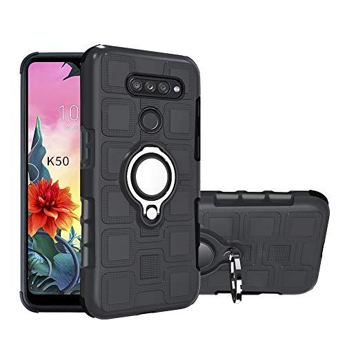 Labanema Hülle für LG K50 /Q60 /LG K12 Max, Ring Kickstand 360 Grad rotierenden Fingerring Grip Drop Schutz Stoßdämpfung Weichen TPU Cover für LG K50 /Q60 /LG K12 Max - Schwarz