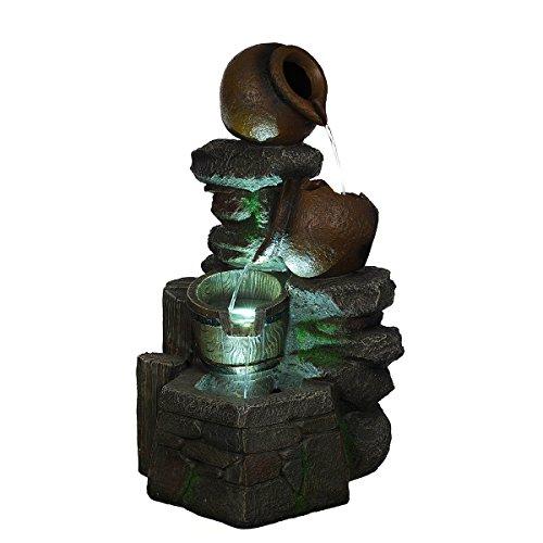XL Brunnen Steine,Krüge, mit 3 LED Leuchten,G53-17022, (Brunnen10), LED Lampen Dekobrunnen Springbrunne MIT elektrischer Pumpe 57cm hoch