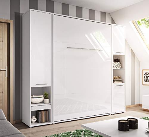 QMM Traum Moebel Schrankbett Wandbett Wandklappbett 140x200 vertikal CP178 mit 2 Regalen weiß, weiß Hochglanz Bettschrank neu