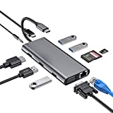 Byttron 11 in 1 USB C Hub with Ethernet, 4K USB to HDMI, VGA, 2 USB 3.0, 2 USB 2.0,...