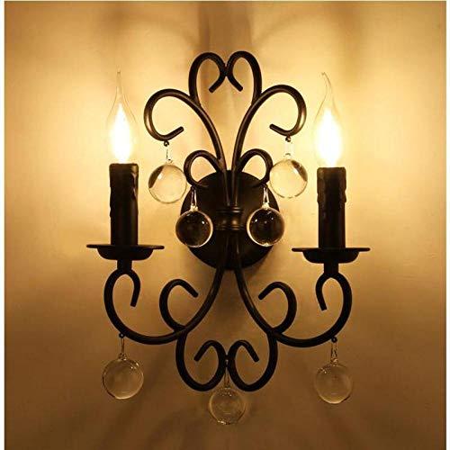 Vintage buitenwandlampen, retro wandlamp, balkon, 2 hoofden, wandlamp, hotellamp, retro, zwart, spiegel, led, wandlamp, industriële wandlamp, verlichting
