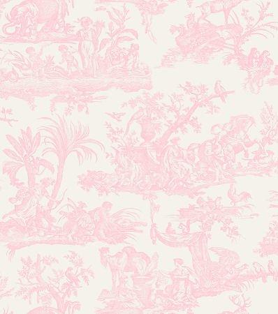 Amelia Toile De-Jouy-Tapete, blasses rosa (262994).