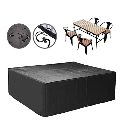 SS ZYW - Funda rectangular para mesa de jardín, cubierta para muebles de jardín, impermeable, resistente, funda para muebles de jardín, 420D extra grande, color negro
