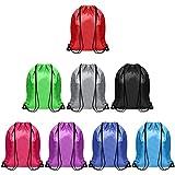 BELLE VOUS Mochila de Cuerdas Multicolor Gimnasio (Pack de 8) 42 x 35 cm - Bolsa de Gimnasia Deportes para Almacenaje, Viajes, Natación – Mochila Cuerdas Unisex Hombres, Mujeres, Adultos y Niños