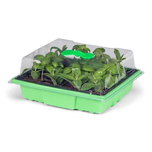 Oramics Mini-broeikas voor keuken en huishouden, 24 kweekpotten, 38 x 24 x 19 cm, kamerbroeikas met deksel en ventilatie, vensterbank kweekset voor plantenbak voor kiemen van zaden 38x24x19 cm 1 x broeikas