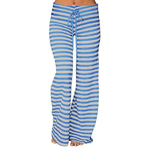 OSYARD Damen Streifen Freizeithose Baggy Palazzo Hose Kordelzug Leichte Weite Beinhose FitnessYogahose Sporthose Hohe Taille Sweatpants Pyjama Pants Hosen