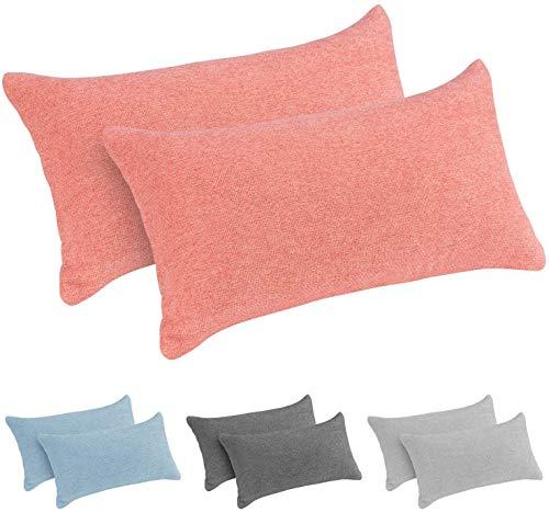 Monsera - Juego de 2 almohadas cervicales de viaje, suaves y estables, funda jaspeada con relleno suave, cojín de espalda, almohada para cama, sofá, viajes (2 x 40 x 20 cm, color albaricoque)