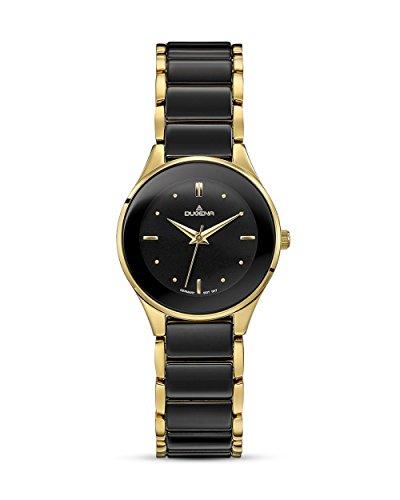 Dugena Damen Armbanduhr Amica Ceramica Keramik 29mm schwarz/gold