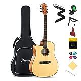 donner chitarra acustica mancina 4/4 chitarra acustica mancini kit per adulto principiante 41 pollici dreadnought cutaway con cinghia corde capo plettri(naturale, dag-1cl)