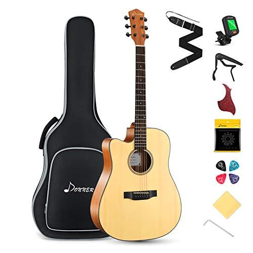 Donner Linkshänder Akustik Gitarre 4/4 voller Größe Akustikgitarre Set Cutaway Anfänger Gitarren 41 Zoll Erwachsene Guitar mit Capo Plektren Gurt Saiten (Natur)