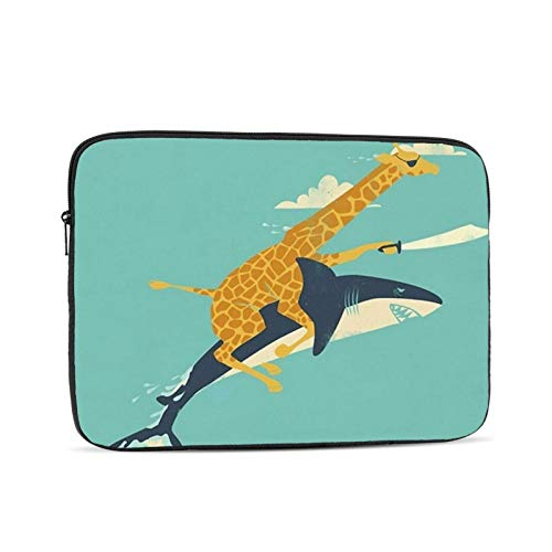 Funny Giraffe Shark Laptop Sleeve 17 inch, Shock Resistant Notebook Briefcase, Computer Protective Bag, Tablet Carrying Case for MacBook Pro/MacBook Air/Asus/Dell/Lenovo/Hp/Samsung/Sony