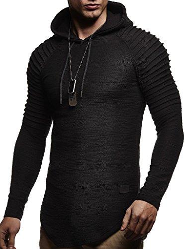 Leif Nelson Herren Kapuzenpullover Slim Fit Baumwolle-Anteil Moderner weißer Herren Hoodie-Sweatshirt-Pulli Langarm Herren schwarzer Pullover-Shirt mit Kapuze LN8128 Schwarz Large