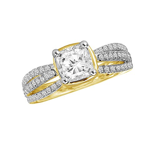 Triostar Women's 1.05 Ct Cushion & Round Diamond 14K Yellow Gold Plated Solitaire Engagement Ring