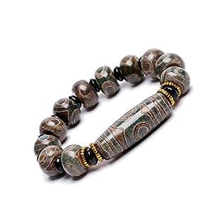 ZenBless Natürliches, grünes tibetisches Armband mit Dzi-Perlen, Fengshui-Amulett-Armreif, zieht positive Energie und Glück an.