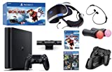 2021 Playstation Console and Playstation VR Holiday Bundle - PS4 Slim 1TB Wireless Controller, PSVR Headset, Camera, Move Motion Controller, Iron Man Game,VR Demo Disc & Marxsol Charging Dock