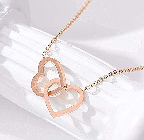 YOUZYHG co.,ltd Collar de Doble corazón Lariat Collares Pendientes para Mujeres Amor Joyas Regalos de Dama de Honor Acero Inoxidable