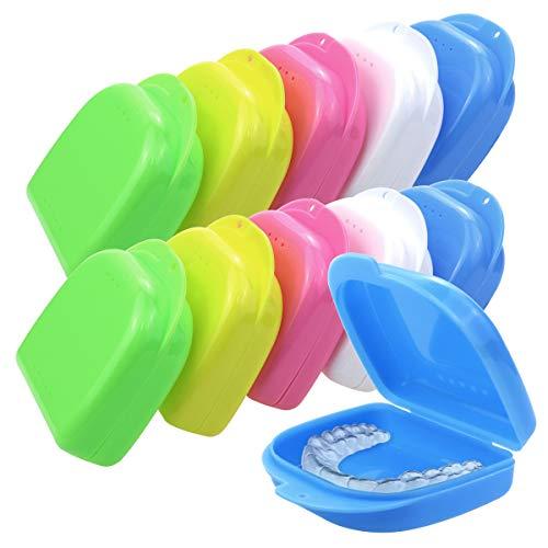 Heatoe 10 Pcs Mouth Guard Case Retainer Box Orthodontic Denture Storage Container, 5 Color