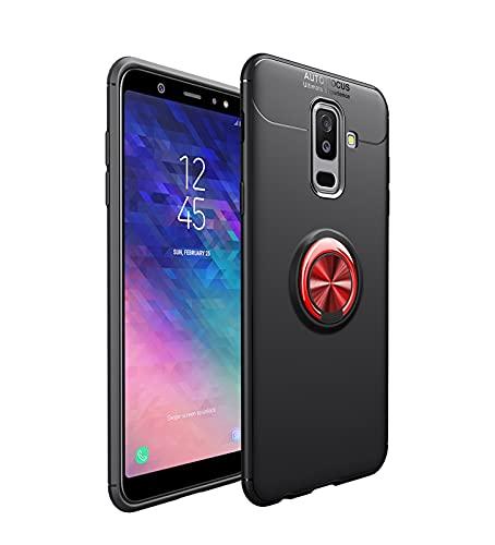Carcasa de telefono Estuche protector para Samsung Galaxy A6 Plus 2018 Caso TPU Soft TPU Funda a prueba de golpes Rotación Metal Anillo Magnético Kickstand DISIPACIÓN DE CALOR DISTRIBILIDAD DE CAÍDA P