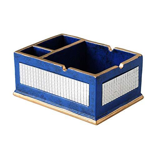 Suytan Cenicero Cenicero Siet Resina Cenicero Cenicero, Ceniceros Interiores American Light para Cigarrillos, Caja de Alenamiento de Escritorio Multifunción con 3 Compartimentos (Color: Azul Real),Az