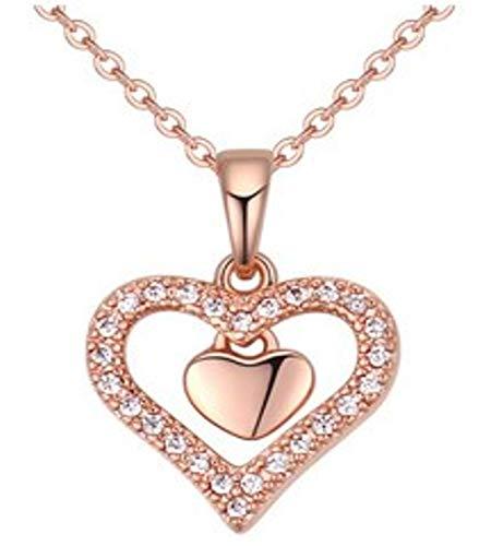 Quadiva E! Dames halsketting hart ketting met hanger hart (kleur: roségoud) versierd met fonkelende kristallen van Swarovski®