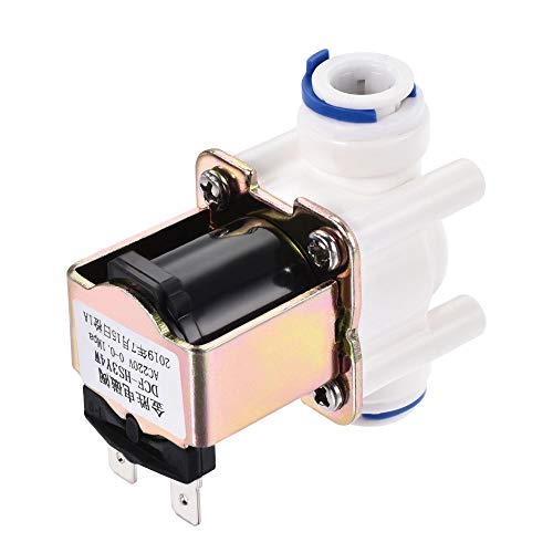 sourcing map AC220V 3/8 Hembra Plástico Agua Eléctrica Solenoide Válvula Rápido Conector Normalmente Cerrada N/C Agua Entrada Flujo Interruptor