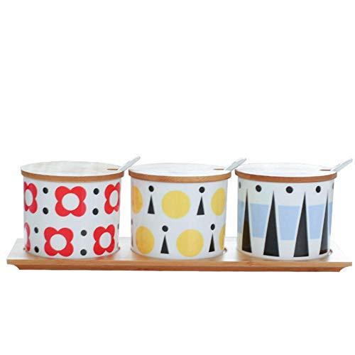 RMI Kitchen fornisce la Scatola di condimento del Vaso di condimento del Vaso di bambù la Ciotola di Zucchero del condimento del Barattolo di condimento del Vassoio di bambù, A
