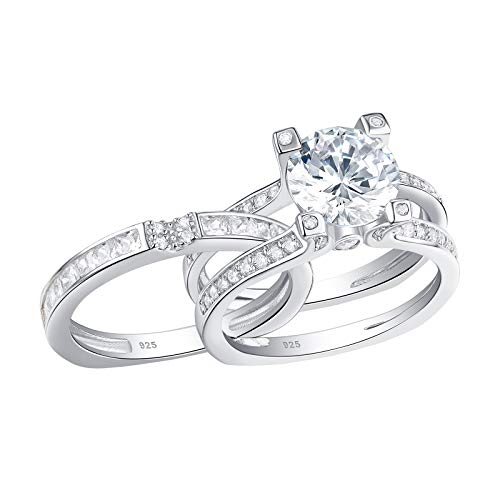 Newshe Jewellery Wedding Band Engagement Ring Set Women Round White Cz 925 Sterling Silver Size 11