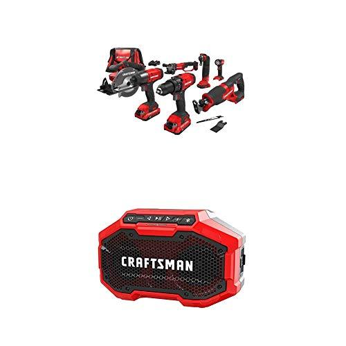 CRAFTSMAN Cordless Drill Combo Kit, 7 Tool & Bluetooth Speaker (CMCK700D2 & CMCR001B)