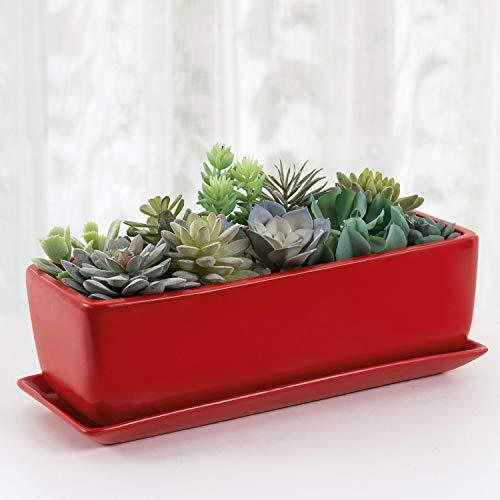 MyGift - Maceta rectangular de cerámica con platillo, color rojo esmaltado de 14 pulgadas