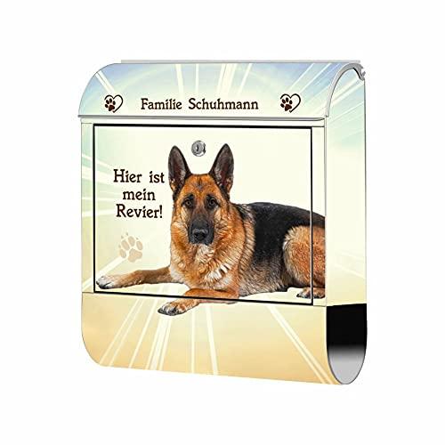 Briefkasten Edelstahl - Motiv Hund Schäferhund 2