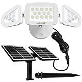 MEIKEE Solar Lights Outdoor, Dusk to Dawn LED Security Lights, 3 Adjustable Heads, Wide Angle...
