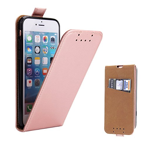 Supad iPhone 7 Hülle, iPhone 8 Hülle, Leder Tasche für Apple iPhone 7/8 4,7 Zoll Handyhülle Flip Hülle Schutzhülle (Rose Gold)